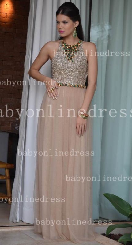 Sexy Elegant Vestido Formal Party Dresses Colorful A-Line Chiffon Crew Evening Dresses With Beaded Crystals