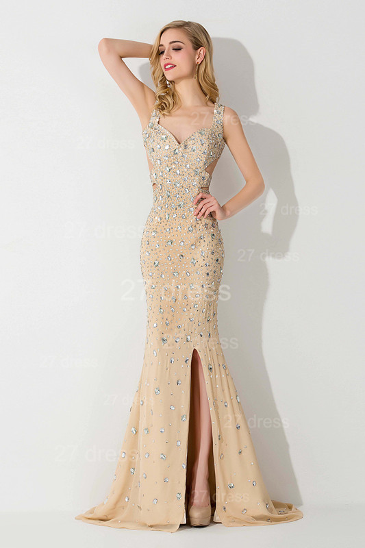 Sexy Straps Crystals Mermaid Evening Dress Front Split