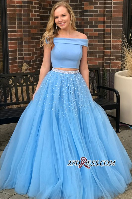 Blue Two-Piece 2020 Prom Dress | Off-The-Shoulder Tulle Evening Dresses With Beads BA9646