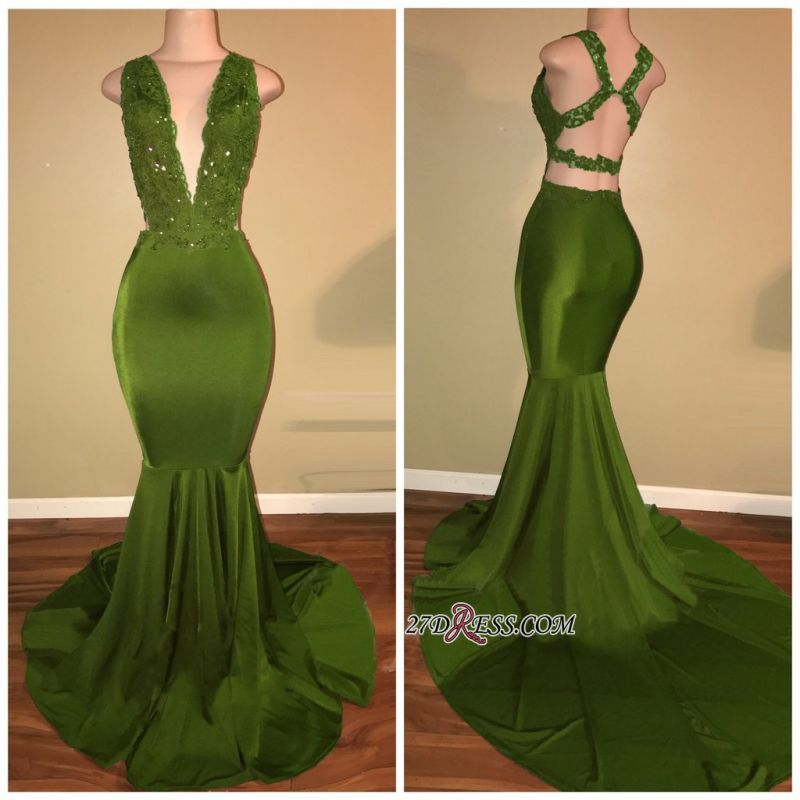 Gorgeous V-Neck Sleeveless 2020 Prom Dress Mermaid Long With Lace Appliques BA7993