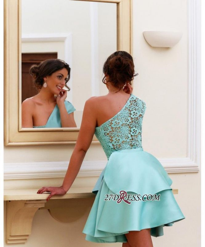 One-Shoulder Lace Shot Pretty Two-Layer Party Homecoming Dress