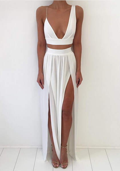 Sexy White Two Piece 2020 Prom Dress Front Split Floor-length
