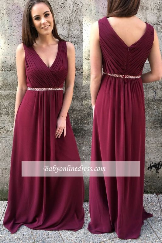 Burgundy prom dress, long chiffon party gowns