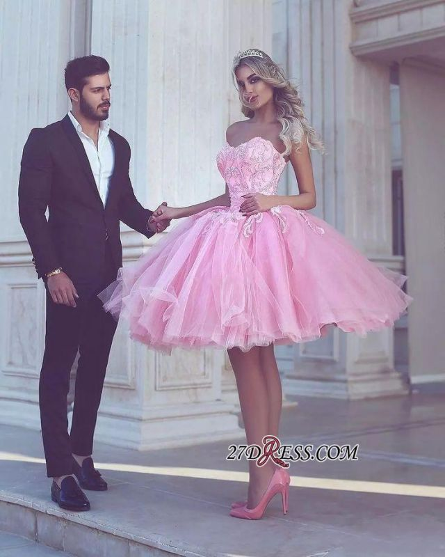 Short Appliues Pink Sweetheart-Neck Ball-Gown Homecoming Dresses