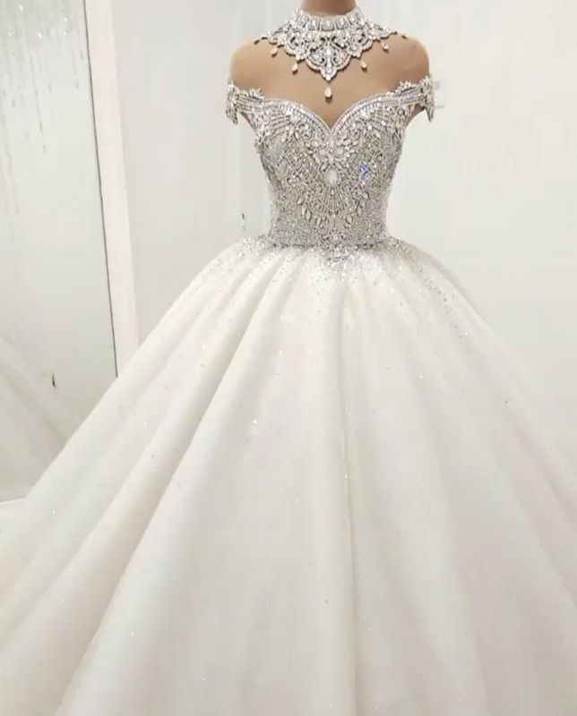 Luxurious Crystal High-Neck Ball Gown Wedding Dresses | 2020 Tulle Bridal Gowns On Sale