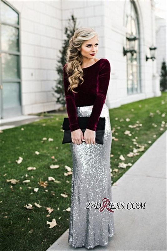 Sleeves Sequins Sheath Burgundy Latest Long Winter Silver Velvet Evening Dresses BA3601
