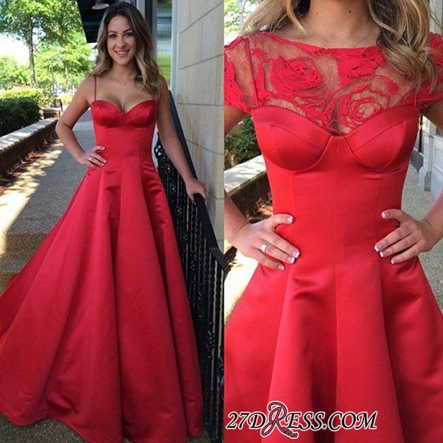 Spaghettis-Straps Sweep-train Red A-line Chic 2020 Evening Dress