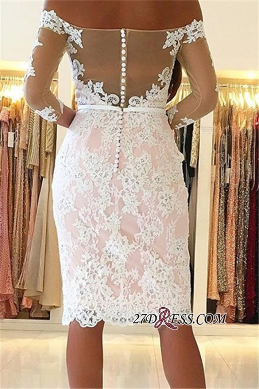 Off-the-Shoulder Long-Sleeves Appliques Sheath Pink Sexy Homecoming Dress qq0363