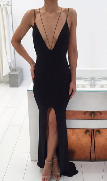 Modern Black Spaghetti Strap Prom Dress 2020 Front Split Open Back