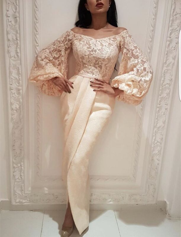 Exclusive Bateau Long Sleeves Lace Appliques Evening Dress | Front Split Floor-length Mermaid Prom Gown