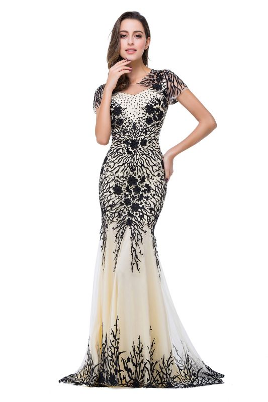 Sparkly Cap Sleeve 2020 Mother Of the Bride Dress Appliques Mermaid Evening Gown