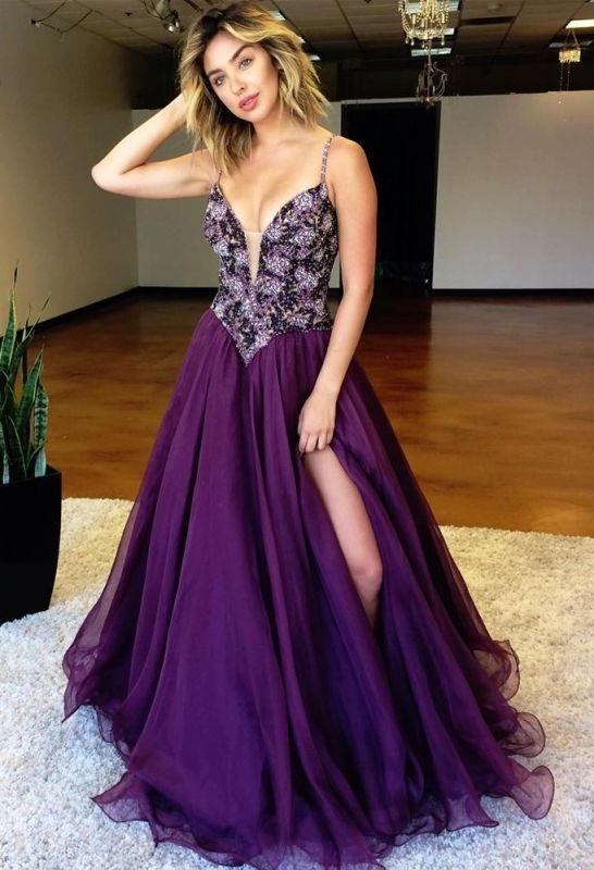 Luxurious Spaghetti Strap A-Line 2020 Evening Gown   Sleeveless Beadings Front Split Prom Dress