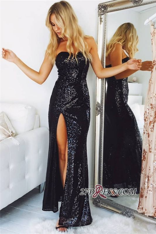 Sexy Black Sequins Prom Dress   2020 Strapless Long Evening Dresses With Slit
