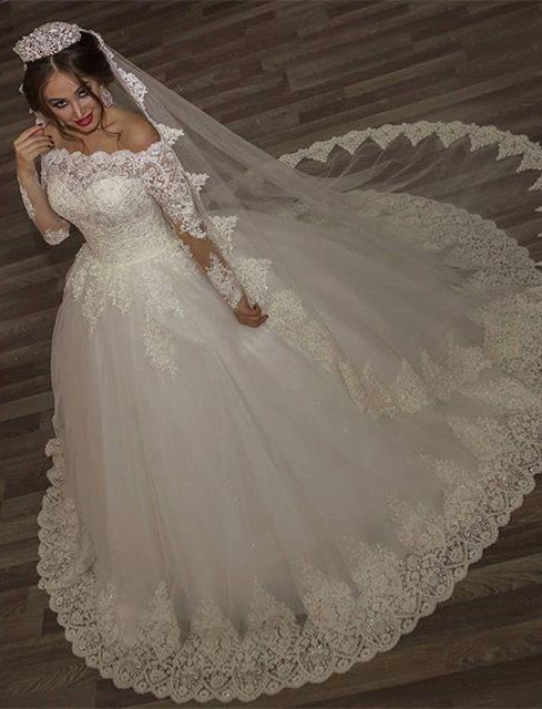 Princess off-the-shoulder Long Sleeve 2020 Wedding Dress lace Ball Gown Tulle