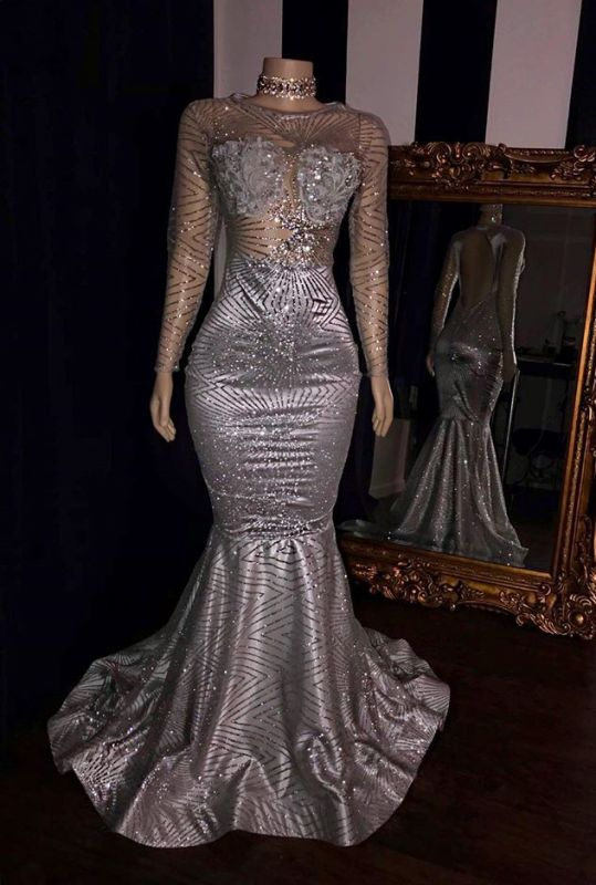 Glittering Long Sleeve Silver Prom Dress | 2020 Mermaid Sequins Long Evening Gowns BC1468
