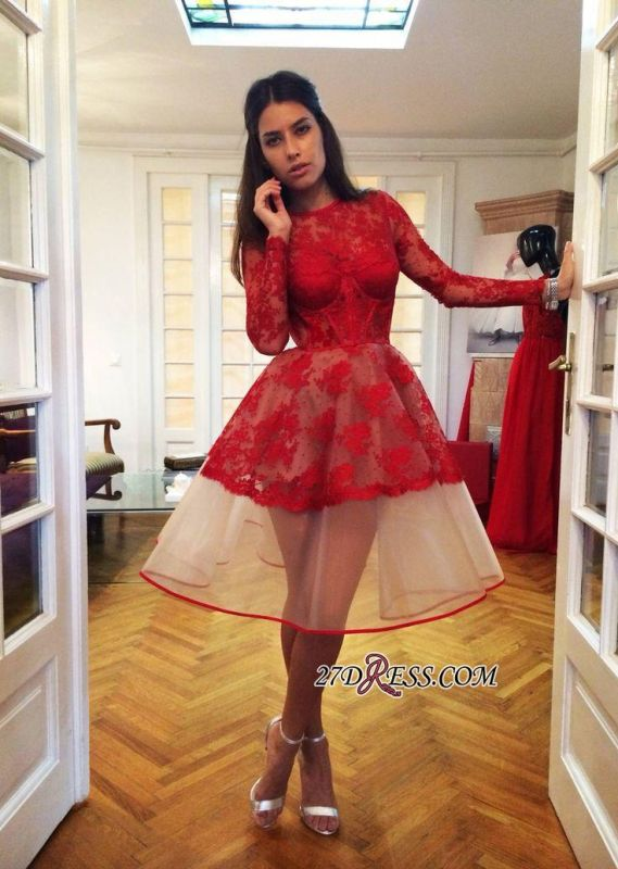 Long-Sleeve Popular Charming Red Sheer Lace Appliques Homecoming Dresses BA7239