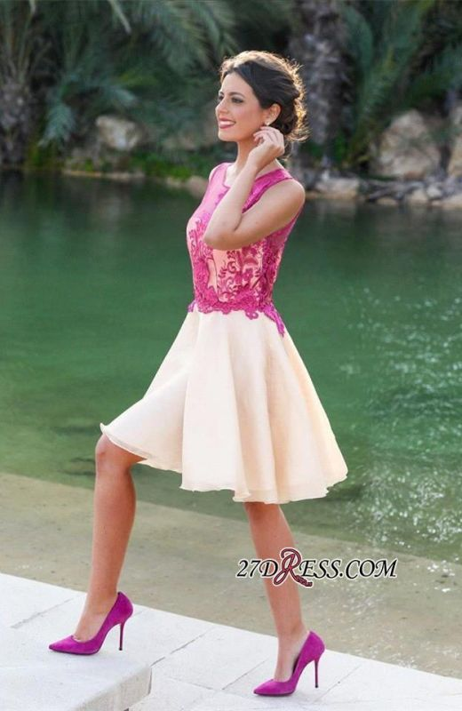 Short Sleeveless Fuchsia lovely Appliques Chiffon Lace Homecoming Dress