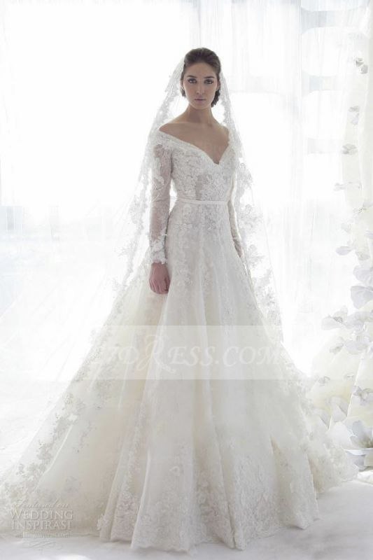 Bridal Long Sleeve Lace Wedding Dresses 2020 Elegant Off-the-shoulder Ball Gown Sweep Train Appliques Sash Sexy Gowns