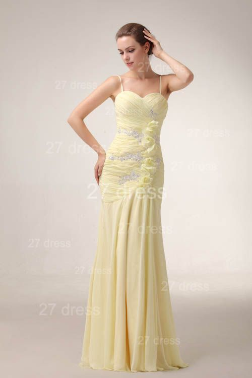 Elegant Yellow Mermaid Evening Dresses 2020 Spaghetti Straps Beadings Prom Gowns