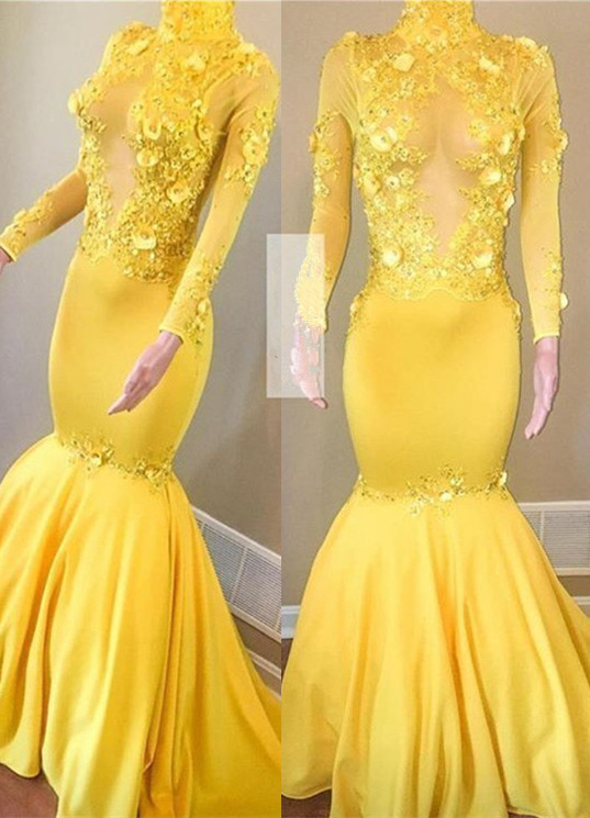 Elegant Long Sleeve Yellow Evening Dress | 2020 Mermaid Prom Gowns With Appliques BC1443