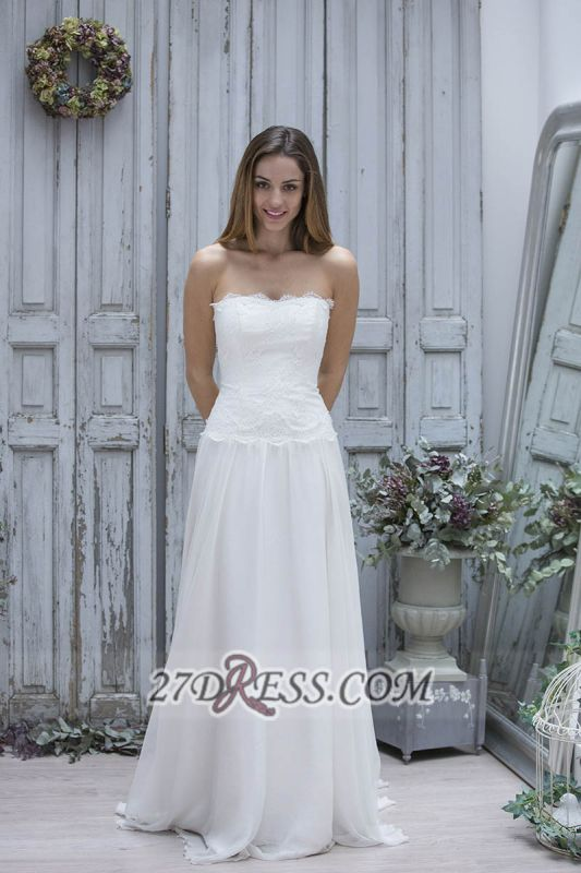 Elegant Straight Across Sleeveless Chiffon Prom Dress With Lace Floor-length