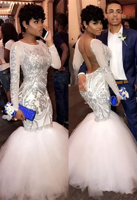 Sexy Long Sleeve 2020 Prom Dresses | Mermaid Sequins Long Evening Gowns On Sale BA8423
