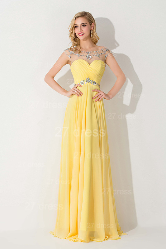 Delicate Illusion Cap Sleeve Evening Dress Yellow Chiffon