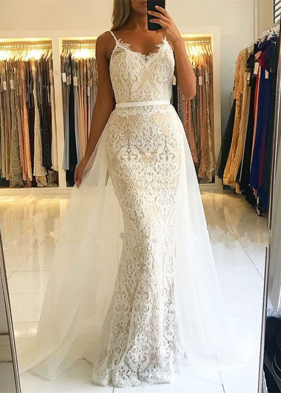 Gorgeous Spaghetti-Straps Lace Prom Dress | 2020 Mermaid Evening Gowns With Ruffles