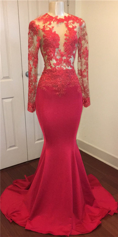 Red lace mermaid 2020 prom dress, long evening gowns online BA8403