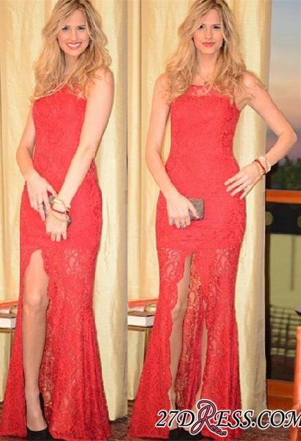 2020 Split Long Sleeveless Full-Lace Charming Coral Prom Dress