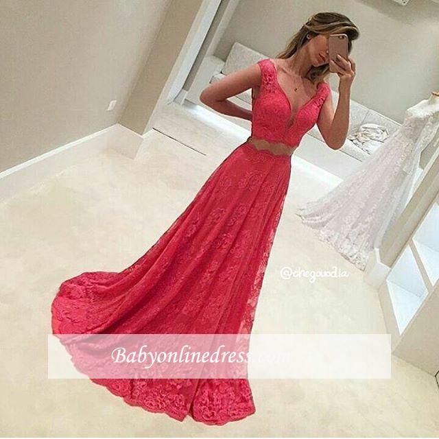 Two-Piece V-Neck Sleeveless Long Red Lace Mermaid Prom Dresses