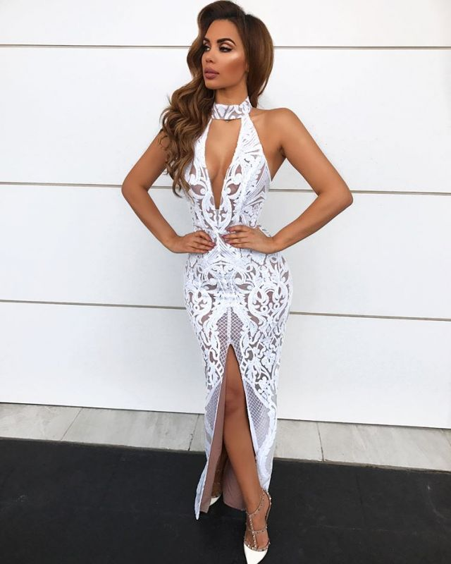 Sexy Lace Halter Prom Dresses | 2020 Long Slit Evening Gowns On Sale BC1683