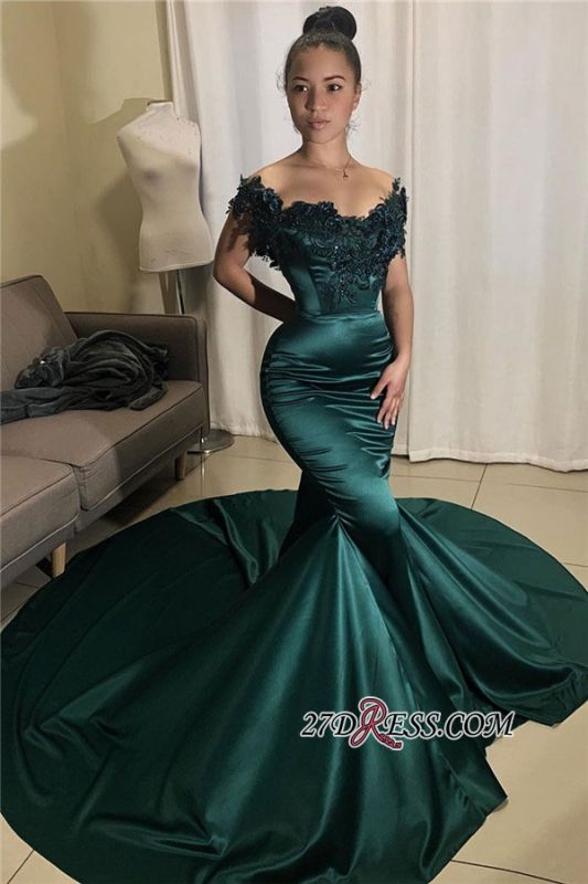 Beading Off-the-shoulder Applique Mermaid Prom Dress