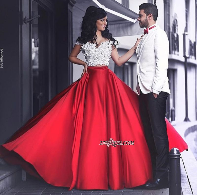 Lace Elegant Red Off-the-Shoulder Appliques Evening Dress