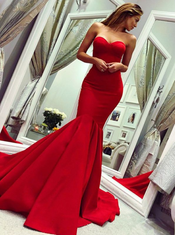 Glamorous Sweetheart Sleeveless Prom Dress | Red Mermaid Evening Gowns On Sale BC0445