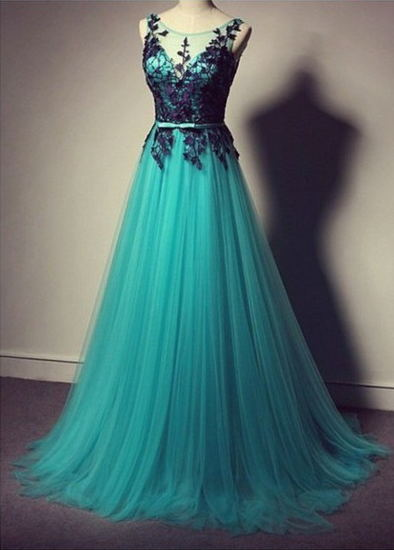Elegant Illusion Tulle A-line Evening Dress With Appliques
