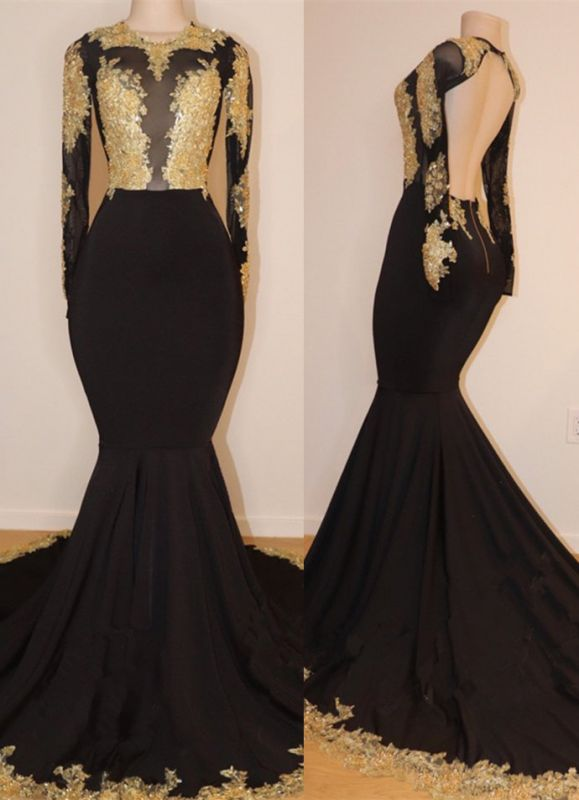 Gorgeous Long Sleeve Black Prom Dresses | 2020 Lace Appliques Long Evening Gowns BC1255