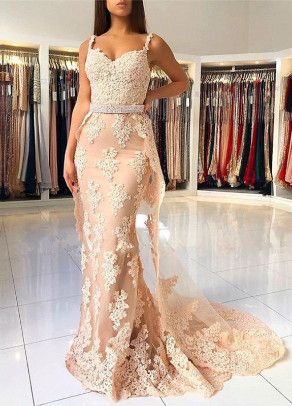 Beautiful Mermaid Lace Prom Dresses | 2020 Straps Evening Gowns With Ruffles BC0612