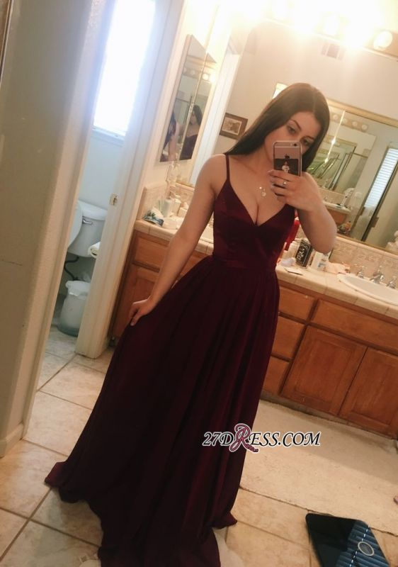 Sleeveless Long V-Neck Maroon Gorgeous Prom Dress BA8333