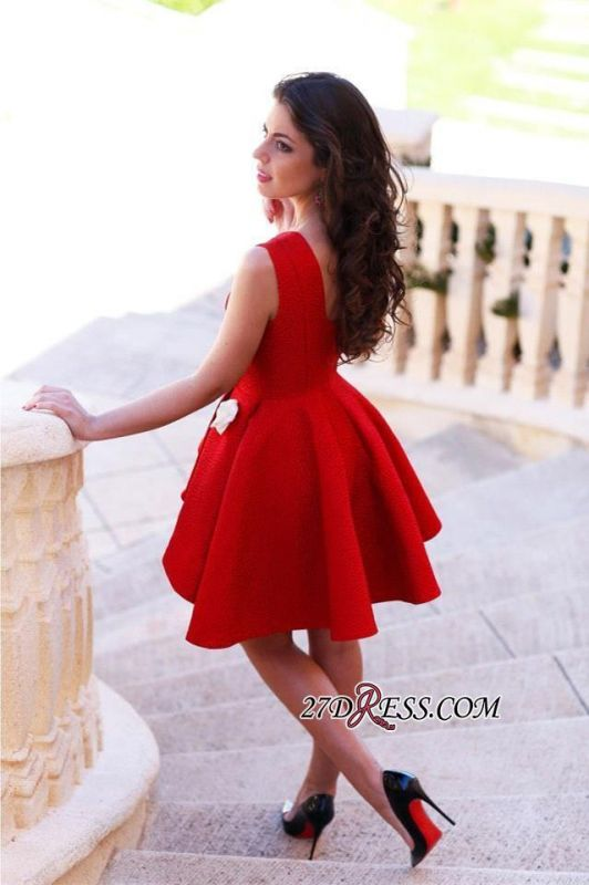 Short Sleeveless Red Sexy Flowers Homecoming Dress