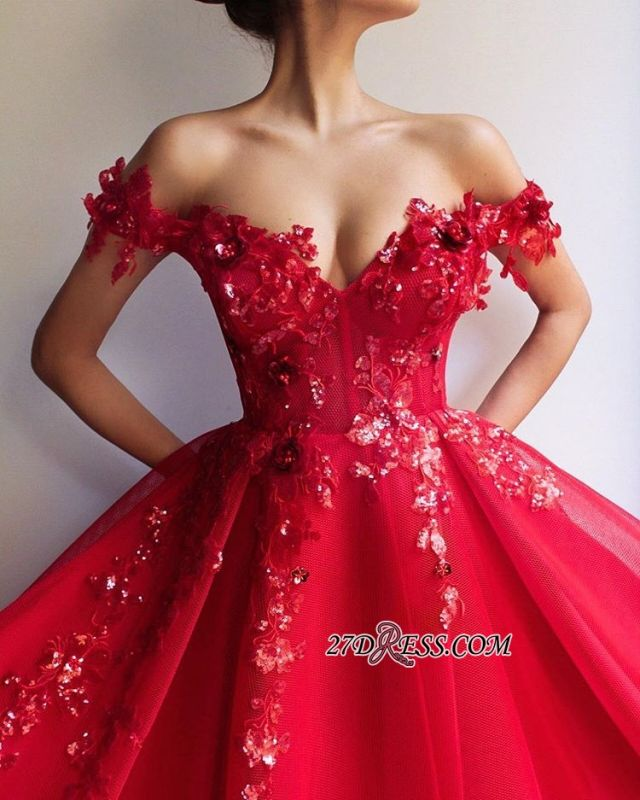 Off The Shoulder Empire A-Line Formal Dresses | Elegant Red Strapless Appliques Tulle Party Dresses