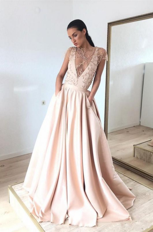 Cap-Sleeve 2020 Prom Dress | Beads Long Evening Gowns