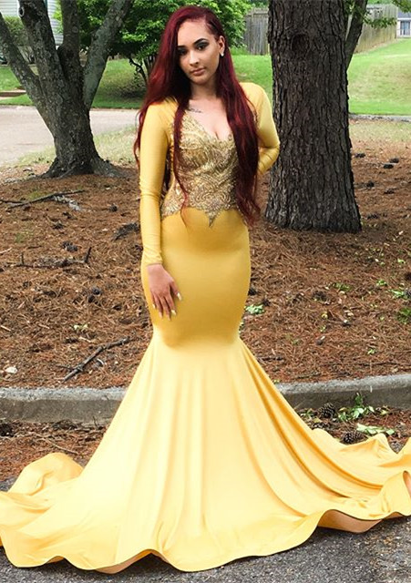 Gorgeous Yellow Long Sleeve Prom Dress | 2020 Mermaid Evening Gowns