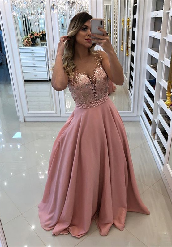Gorgeous Pink Evening Dress | 2020 Long Prom Dress With Pearls