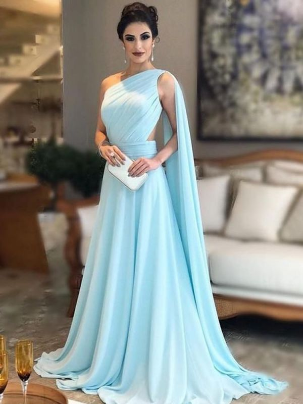 2020 Simple One-shoulder Sleeveless Evening Dress | A-Line Chiffon Prom Gown On Sale