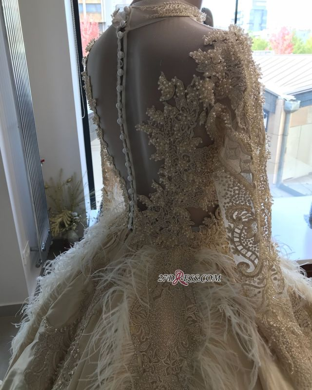 Feathers Ball-Gown Appliques Long-Sleeves High-Neck Attractive Wedding Dresses