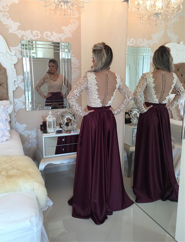 Stunning Long Sleeve Lace Pearls Prom Dresses 2020 Long Party Gowns BT0