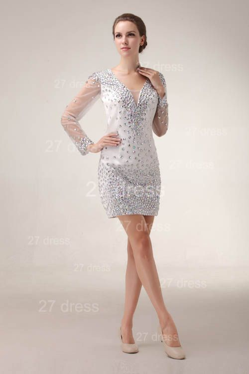 Mini V-Neck Sheath Homecoming Dresses 2020 Long Sleeve Crystal Cocktail Gowns