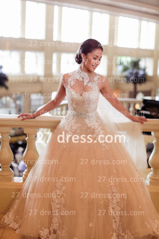 Train A-line Wedding Dresses Bridal Gowns with 2020 Sheer Tulle Buttons Sleeveless Applique Beaded Court