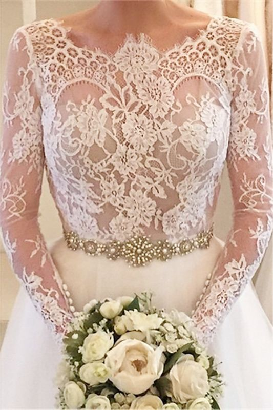 Elegant Illusion Long Sleeve Tulle Wedding Dress With Lace Beadings BA5175